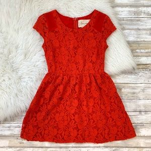 UO Coincidence & Chance Red Lace Mini Dress